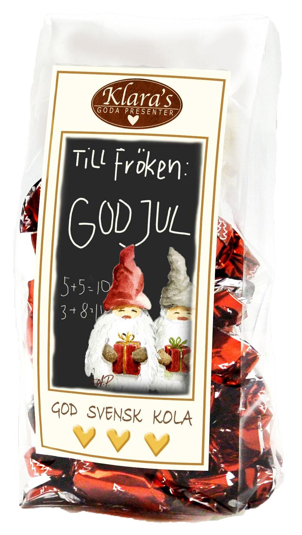 Till Fröken God Jul - Knäckkolor i söt cellofanpåse