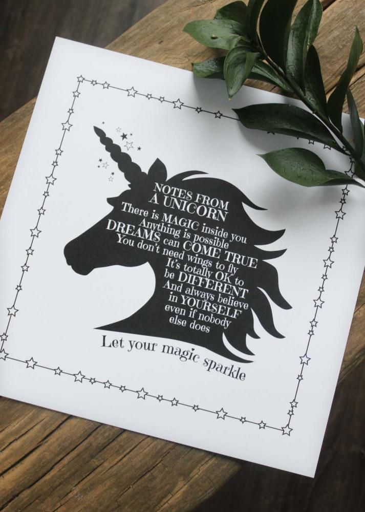 Print Unicorn, 30x30cm - Majas lyktor/Barncancerfonden