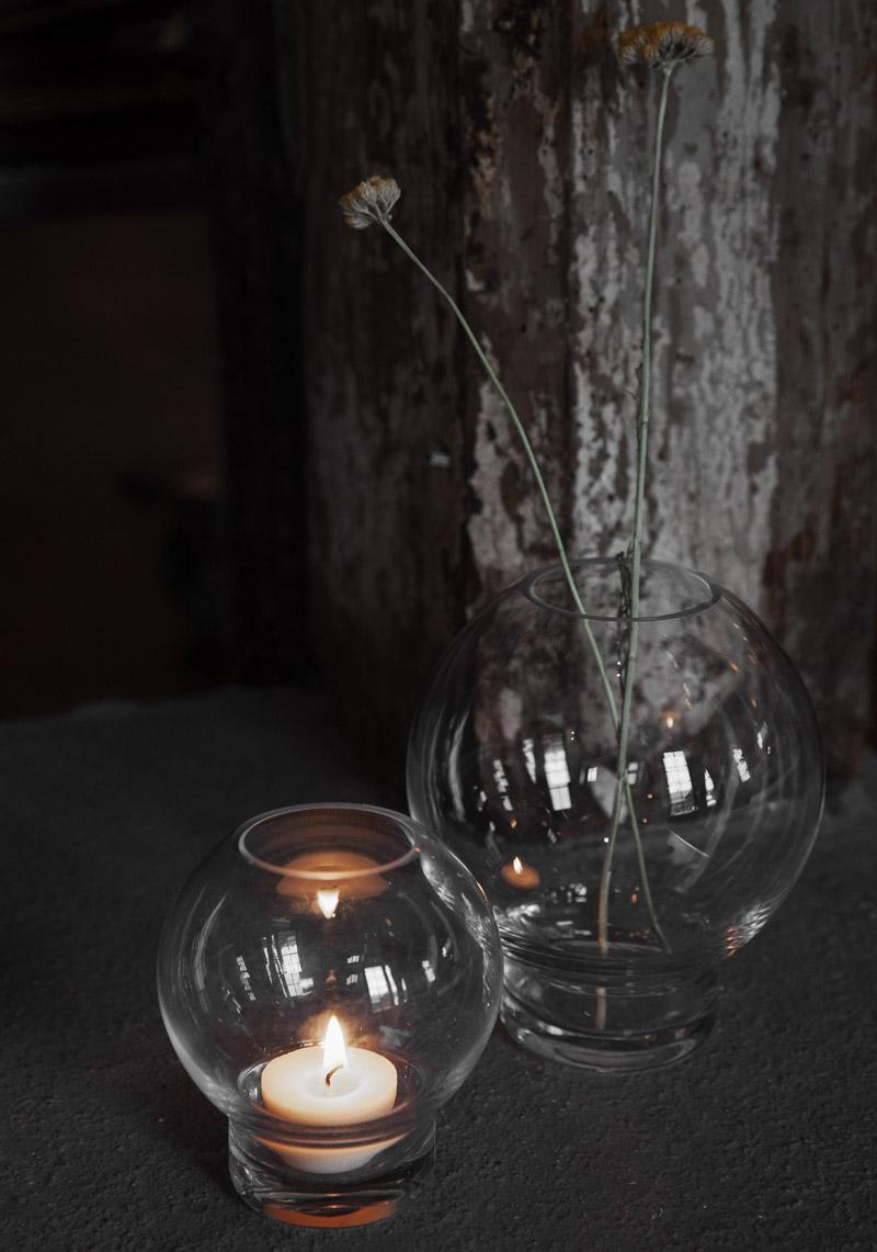 Glasvas/Ljuslykta på fot - Ernst Kirchsteiger (Liten 9 x 10 cm)