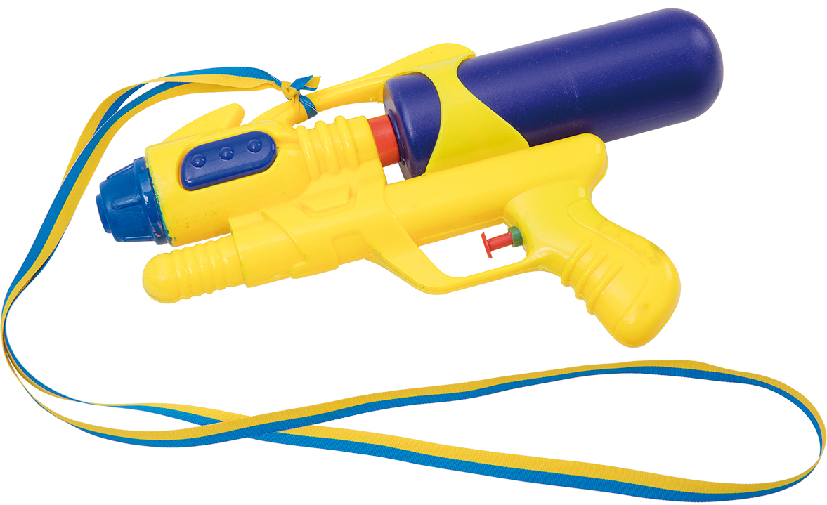 Vattenpistol i blå/gult band • Pryloteket